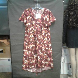 Floral Print Short Sleeve Woven Maternity Dress